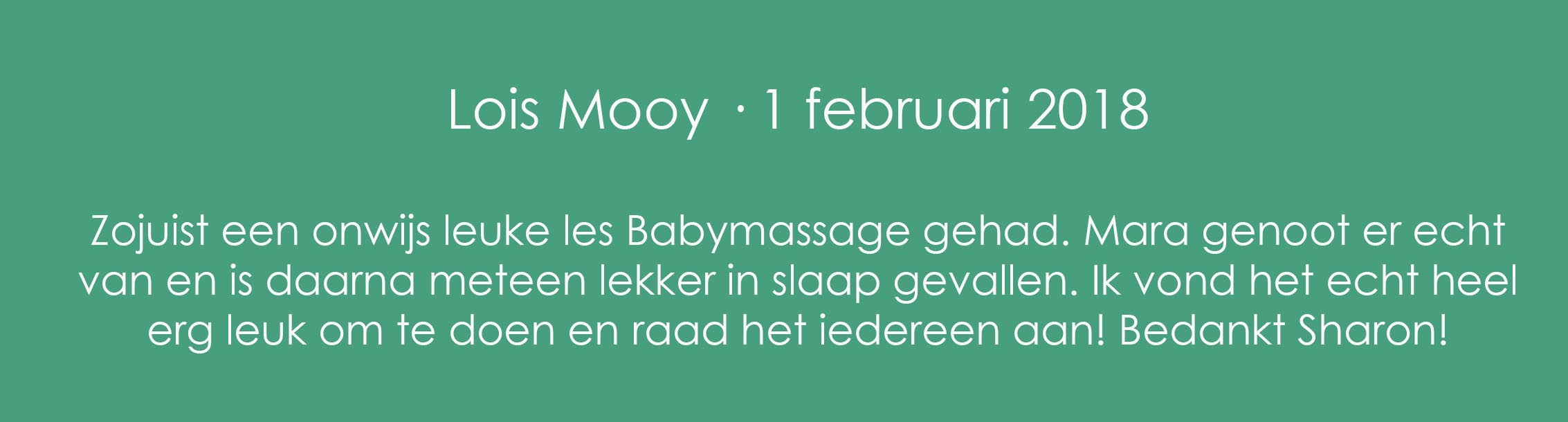 Review Babymassage Lois Mooy groen