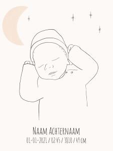 Geboorteposter bohostyle maantekening
