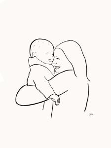 Portret moeder en baby. Lijntekening