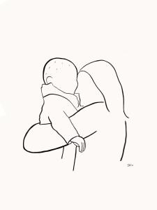 Portret lijntekening moeder en baby