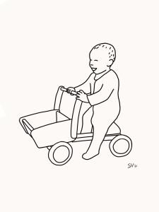 Lijntekening portret baby