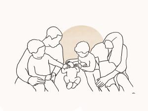 Lijntekening portret gezin