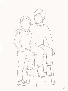 Minimalistisch portret lijntekening kinderen