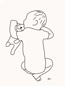 Geboorteposter portret baby lijntekening