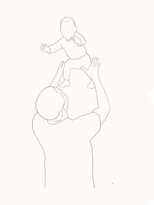 Minimalitisch portret lijntekening vader en zoon